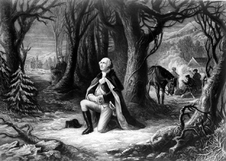Washington prays at Valley Forge
